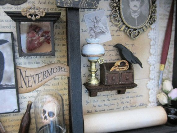 Edgar Allan Poe Triptych Miniature Diorama Wall by AhtheMacabre