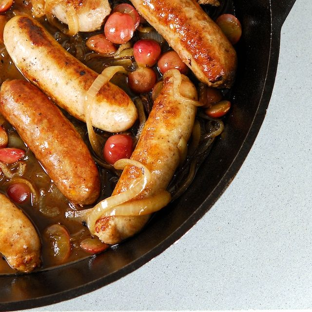 Braised Sausages with Balsamic Glazed Grapes and Onions adapted from a ...
