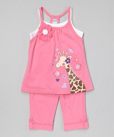 Look at this #zulilyfind! Pink Giraffe Tunic & Capris - Infant, Toddler & Girls by G&J Relations #zulilyfinds