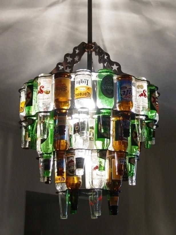 """Nothing says, """"Welcome to my place"""" like a three-tier beer-bottle chandelier from Barlite."""