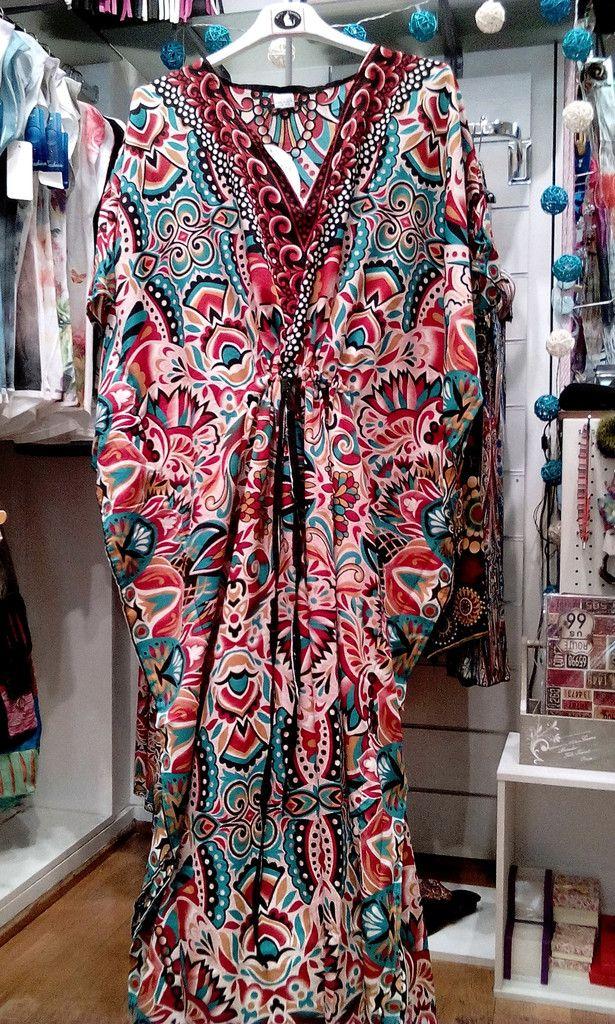 Μακρύ φόρεμα-καφτάνι με υπέροχα ινδικά μοτίβα!