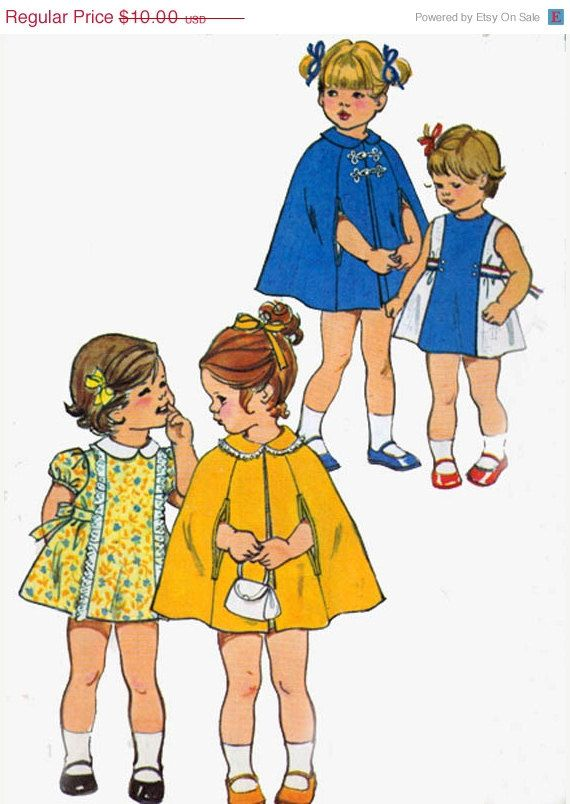 SALE Vintage 70s Sewing Pattern Simplicity 5478 Toddlers Dress and Cape Peter Pan Collar Puff Sleeves Girls Sewing Pattern  Size 3. , via Etsy.