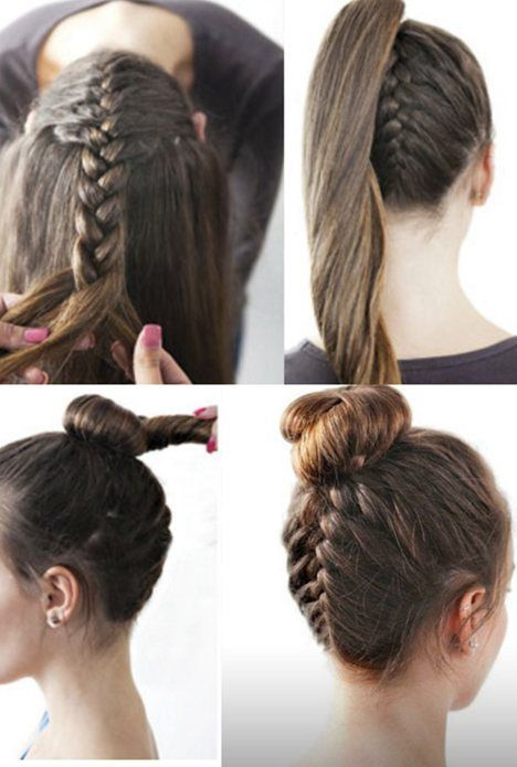 How to do Upside Down French Braid with Modern Top knot