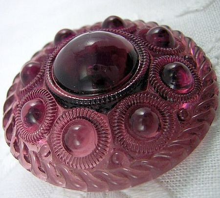 Vintage Purple Glass BUTTON Molded Top, Domed, Rope Border, Cone Shank,.