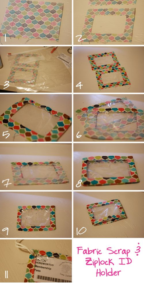 Scrappy ziplock plastic ID holder | free tutorial, diy, free pattern, scraps, homemade, handmade, ID window