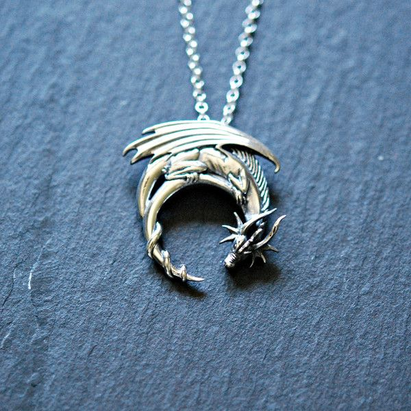Sterling silver dragon necklace, winged dragon on moon pendant, goth... ($26) ❤ liked on Polyvore featuring jewelry, sterling silver jewelry, sterling silver pendants, pendant jewelry, wing pendant and gothic jewellery