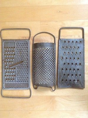 Antique Primitive Lot Of 3 Old Hand Held Sheet Metal Food Graters Kitchen Tools