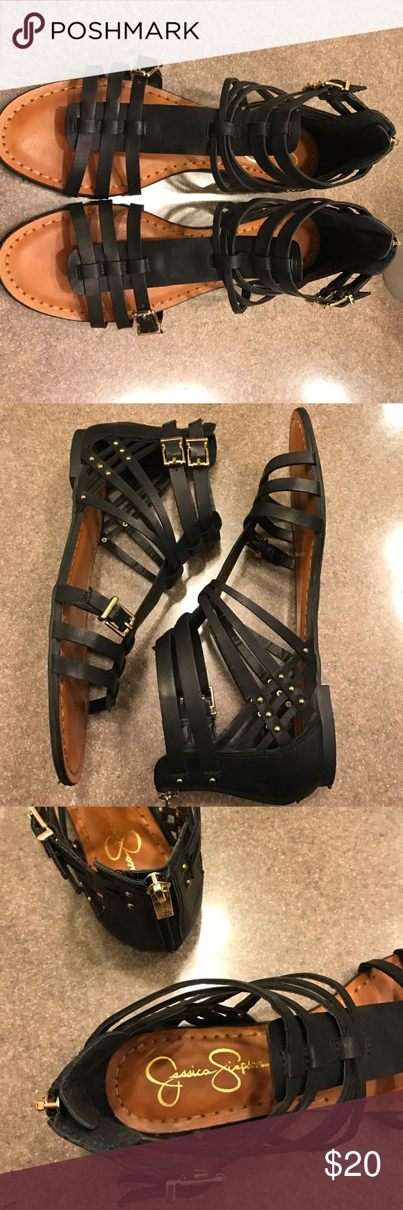 Jessica Simpson Sandals These black sandals are super cute! Only worn a couple of times, I'm just trying to make room in my closet. Some of the straps are adjustable for the perfect fit Jessica Simpson Shoes Sandals