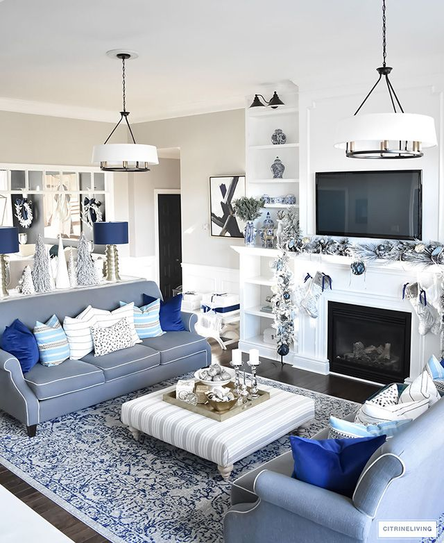 Christmas Home Tour Living Room With Blue White And Gold Silver Living Room Gold Living Room Blue And Gold Living Room