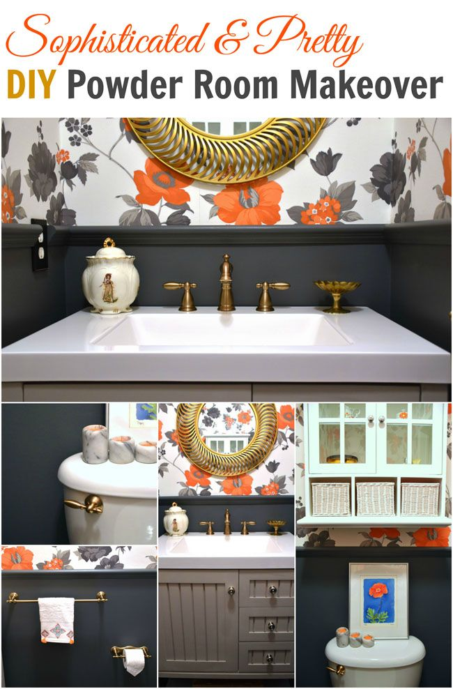 Sophisticated Pretty Powder Room Makeover Diy On A