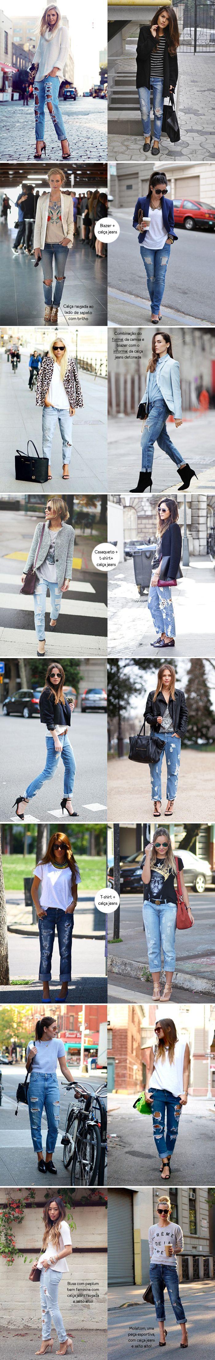 Inspiração como usar look calça jeans detonada / destroyed