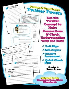 "Here's a set of ""Twitter Tweet"" forms for students to summarize what they have learned. These would make excellent exit slips."