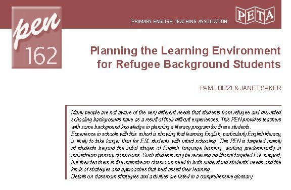 Free PETAA Papers Resources for Primary Teachers Planning the Learning Environment for Refugee Background Students
