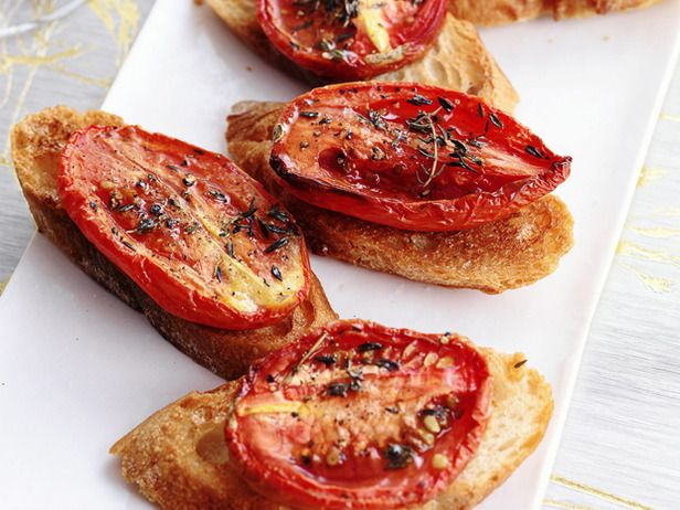 Crostini with Thyme-Roasted Tomatoes #FNMag #HolidayCentral: Food Network, Ted Allen, Tomatoes Appetizers, Tomatoes Recipe, Appetizer Recipes, Foodnetwork Com, Thyme Roasted Tomatoes, Appetizers Recipe, Holidays Appetizers