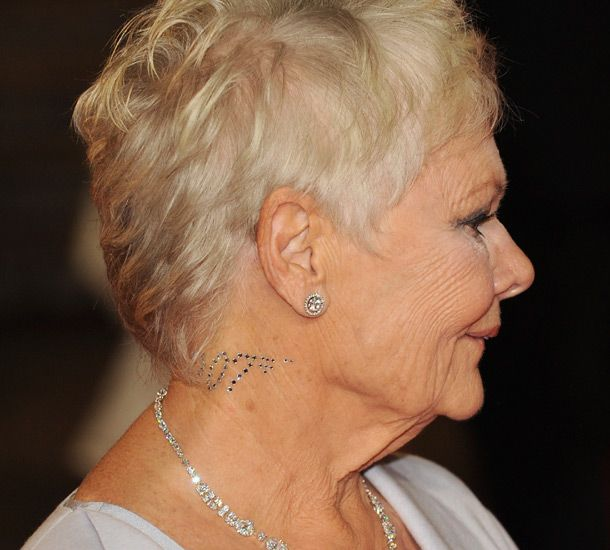 Judi Dench Haircut Side Profgile | Diamonds are forever: Dame Judi Dench sports dazzling crystal tattoo