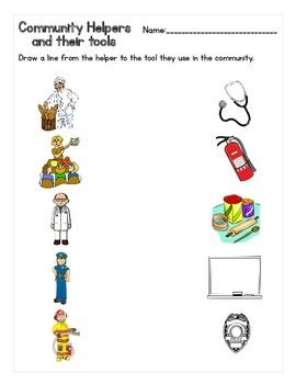 Community Helpers And Their Tools Matching Worksheet My