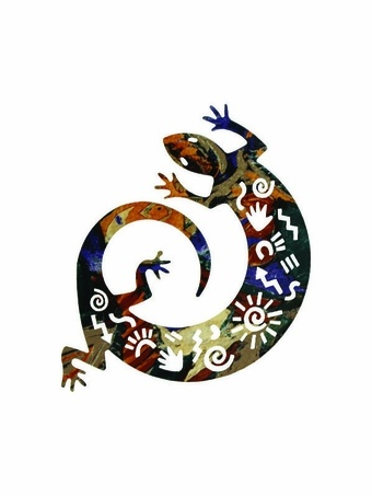 Tribal Gecko Southwest Metal Wall Sculptur