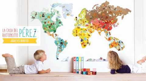World Map - Peel and Stick Poster Sticker Fabric posters, Fabrics - best of world map true country size