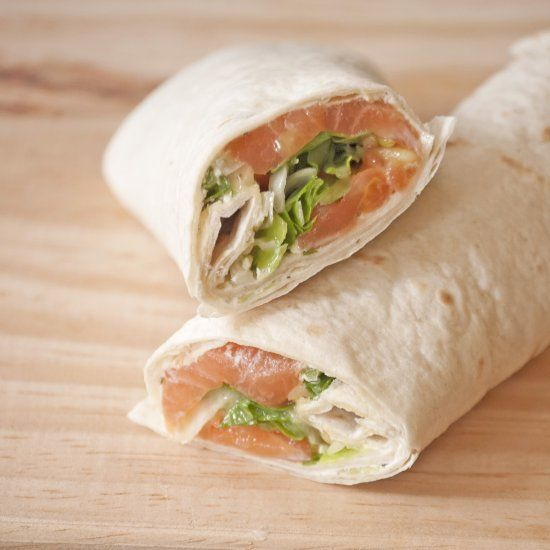 Delicious light lunch wrap with Salmon (in Dutch)