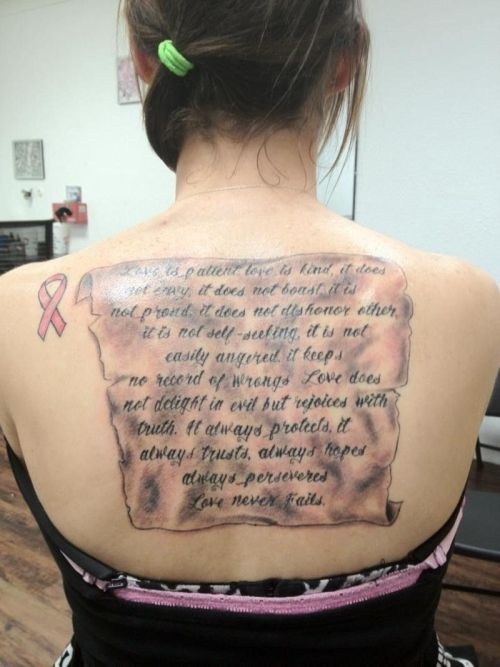 How to Choose the Best Good Tattoo Quotes: Large Back Quote Tattoo Design Ideas With Black Ink ~ tattooeve.com Tattoo Ideas Inspiration