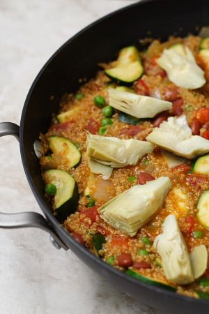 A vegan take on paella, featuring fresh veggies and quinoa- recipe by Susan Voisin, from her blog Fat Free Vegan. This was a hit when I made it for Monday night dinner a few months ago... so good, I remembered it and shared it with my Pinterest friends :)