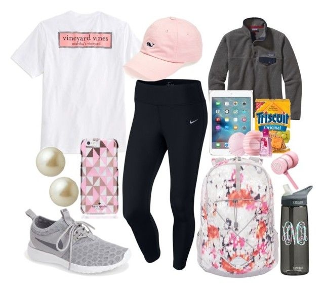 """{road trip}"" by preppy-southern-girl-1-2-3 ❤ liked on Polyvore featuring Vineyard Vines, NIKE, Carolee, The North Face, Kate Spade, Patagonia, Nicki Minaj, Eos, women's clothing and women"