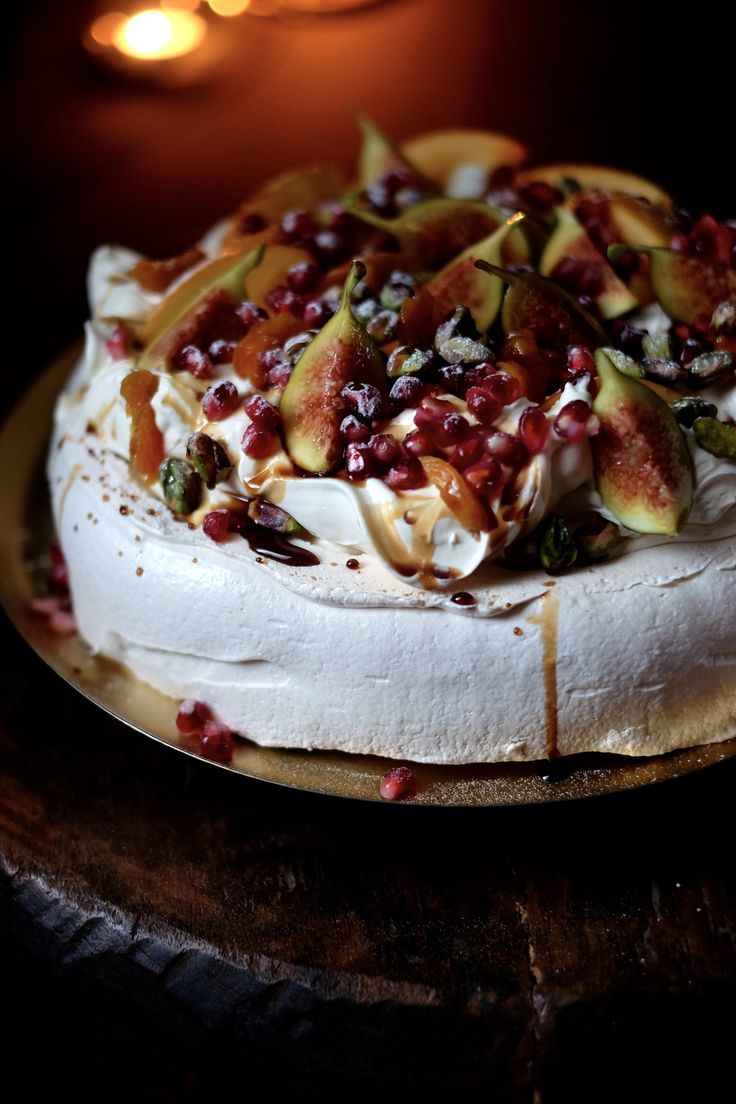 Pavlova seems an obvious choice at Christmas, not least because of its bleak, snowy whiteness and post-roast lightness. But this, I like to believe, has a more profound Christmas symbolism: it is an ode to the three wise men. Though really there needs to be no excuse for making it. Ingredie