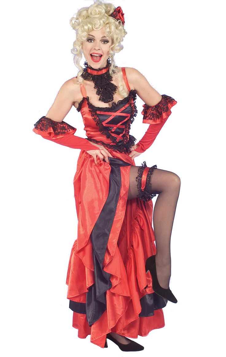 Red Can-Can Saloon Girl Costume - Wear this for Halloween, Stampede events, and other Western Saloon ideas. This is a sassy Saloon dress. This Western can-can costume is perfect for plenty of occasions. This is a five-piece costume with a dress, garter, choker, gloves and headpiece. The dress is a long and layered cancan dress with black lace trim. The bodice has ribbon lacing in the front and thin shoulder straps.  #calgary #yyc #costume #saloon #oldwest #western #stampede #ladies