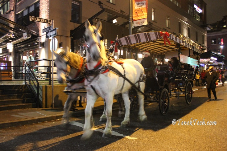Hose-drawn carriage rides - CandyTown free outdoor Christmas festival in Yaletown -  Downtown Vancouver