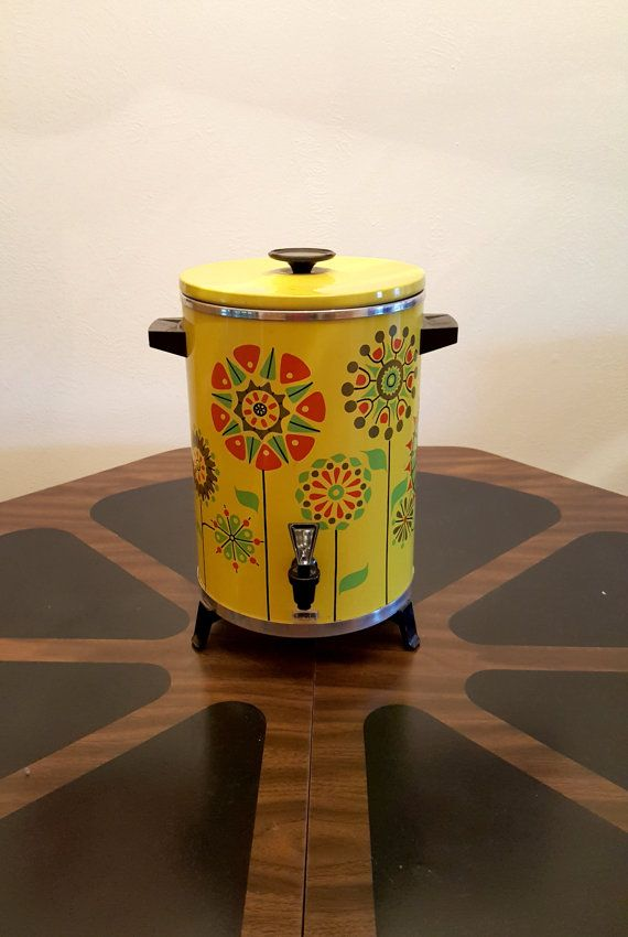 Mid Century Modern Coffee Maker | Retro West Bend Mod Flower Power Metal Coffee…
