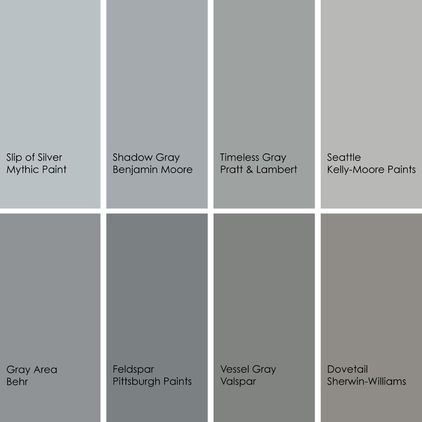 Gray paint picks for bathrooms (clockwise from top left):  1. Slip of Silver 139-3, Mythic Paint  2. Shadow Gray 2125-40, Benjamin Moore  3. Timeless Gray 29-23, Pratt  Lambert  4. Seattle KM3923-1, Kelly-Moore Paints  5. Dovetail SW7018, Sherwin-Williams  6. Vessel Gray 4005-2A, Valspar  7. Feldspar 554-4, Pittsburgh Paints  8. Gray Area 770F-4, Behr