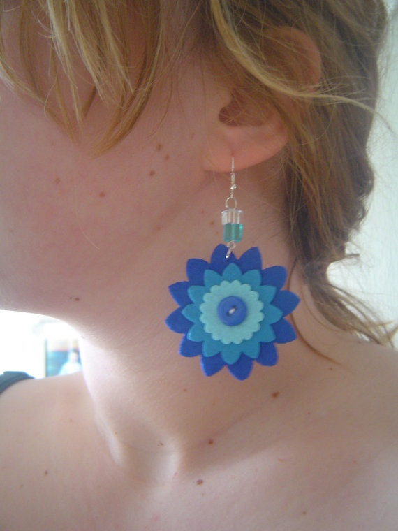 Felt flower earrings  shades of blue by BMaja on Etsy, $13.00