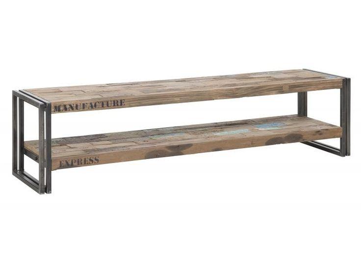 TV Regal im Industriedesign, Lowboard aus Metall und Holz, Länge 160 cm - Regale - Modern Style - Möbel