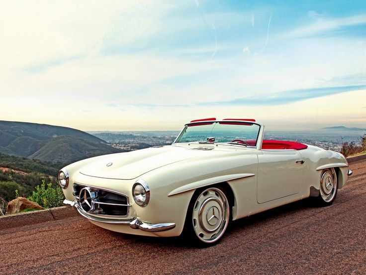 What a strangely cool car... -- Mercedes Benz 190SL Convertible.