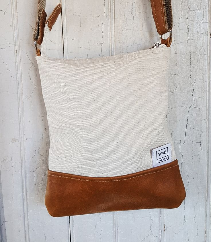 Cross Body Bag Canvas and Leather - Beige and Tan - W & B