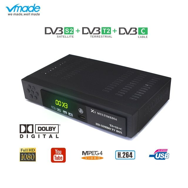 Vmade Dvb T2 S2 C Hd Tv Tuner Combo Set Top Box Full Hd 1080p Digital Terrestrial Satelliter Receiver Support Ac3 Cccam Iptv Review Tv Tuner Dvb T2 Satellites