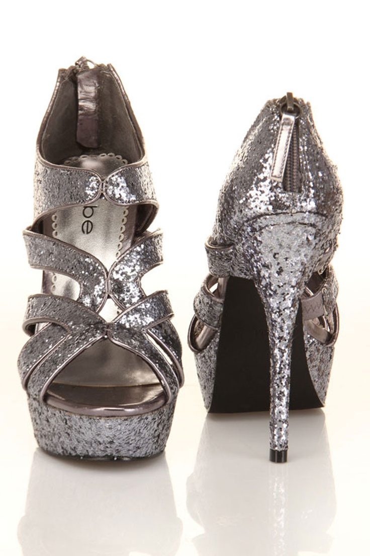 Bebe Rage Shoes In Pewter Glitter
