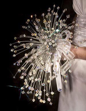 Cascading Swarovski Crystal Wedding Bouquet @ Brilliant Wedding Jewelry