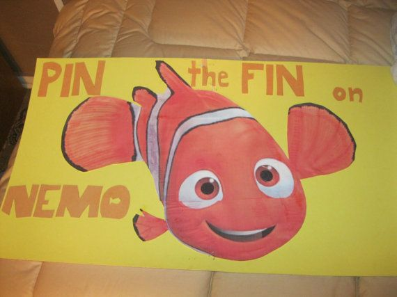I created this game for my childs 2nd birthday party that had a finding Nemo theme. The game is Pin the Fin on Nemo. It was a lot of fun and really added
