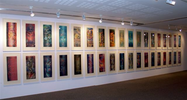 The Great River ( Tonle Sap ) ... Woodcut installed in the Mermaid Art Centre