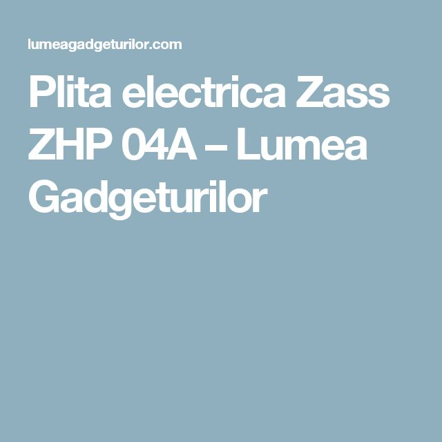 Plita electrica Zass ZHP 04A – Lumea Gadgeturilor