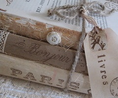 Old books tied with a string