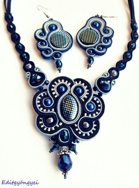 soutache jewelry and I'm thinking it could be duplicated in polymer and beads