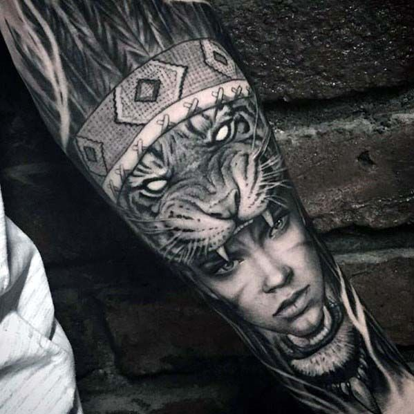 Badass Forearm Sleeve Guys Tiger With Female Indian