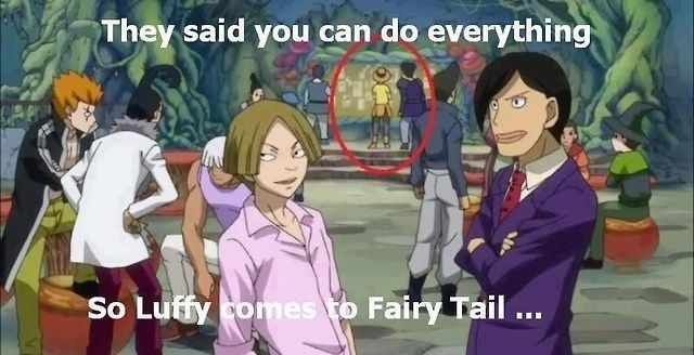 Luffy en Fairy Tail I didn't even see that XD