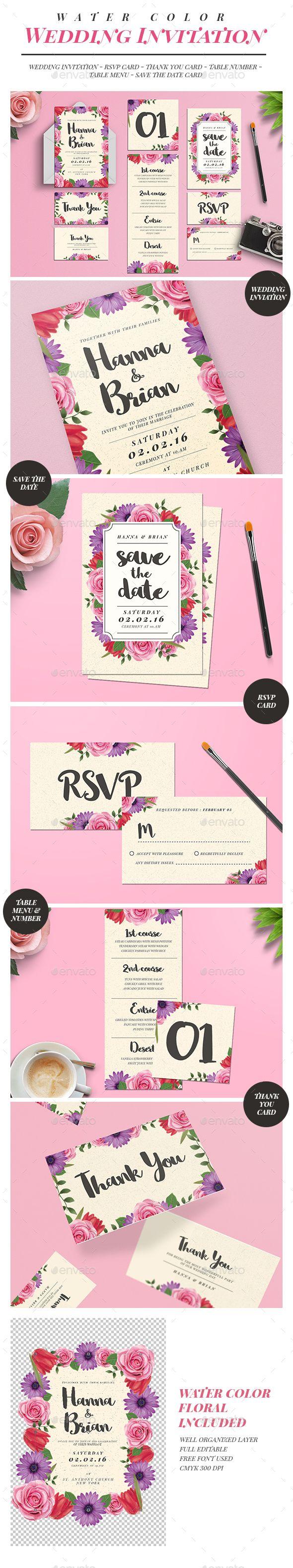 59 best wedding card m images on pinterest invitation cards watercolor floral wedding invitation suite stopboris Images