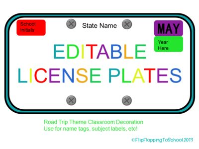 Road Trip Themed Editable License Plates for Names and Subjects from FlipFloppingToSchool on TeachersNotebook.com (9 pages)