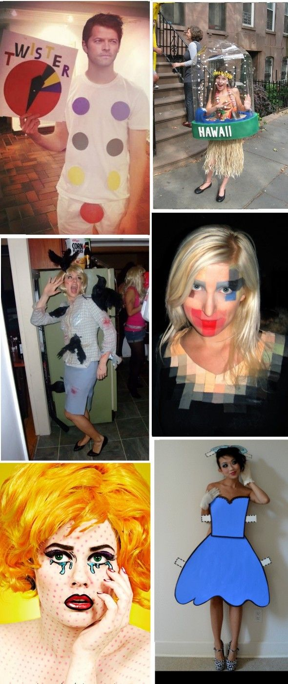 Adult Costumes; Twister; Hula Girl Water Globe; The Birds; Pixelated; Comic Strip; Paper Doll