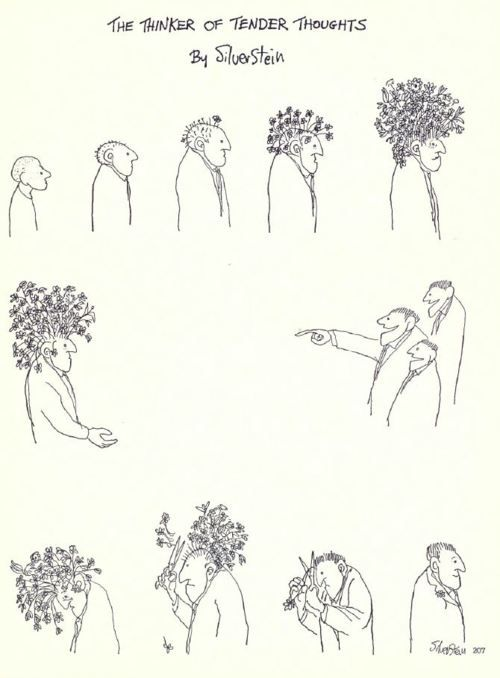 The Thinker of Tender Thoughts: An illustration by Shel Silverstein, 1963...Heartbreaking, and inspiring all at once. That one flower left in his lapel, carried by his heart! Awesome :-)
