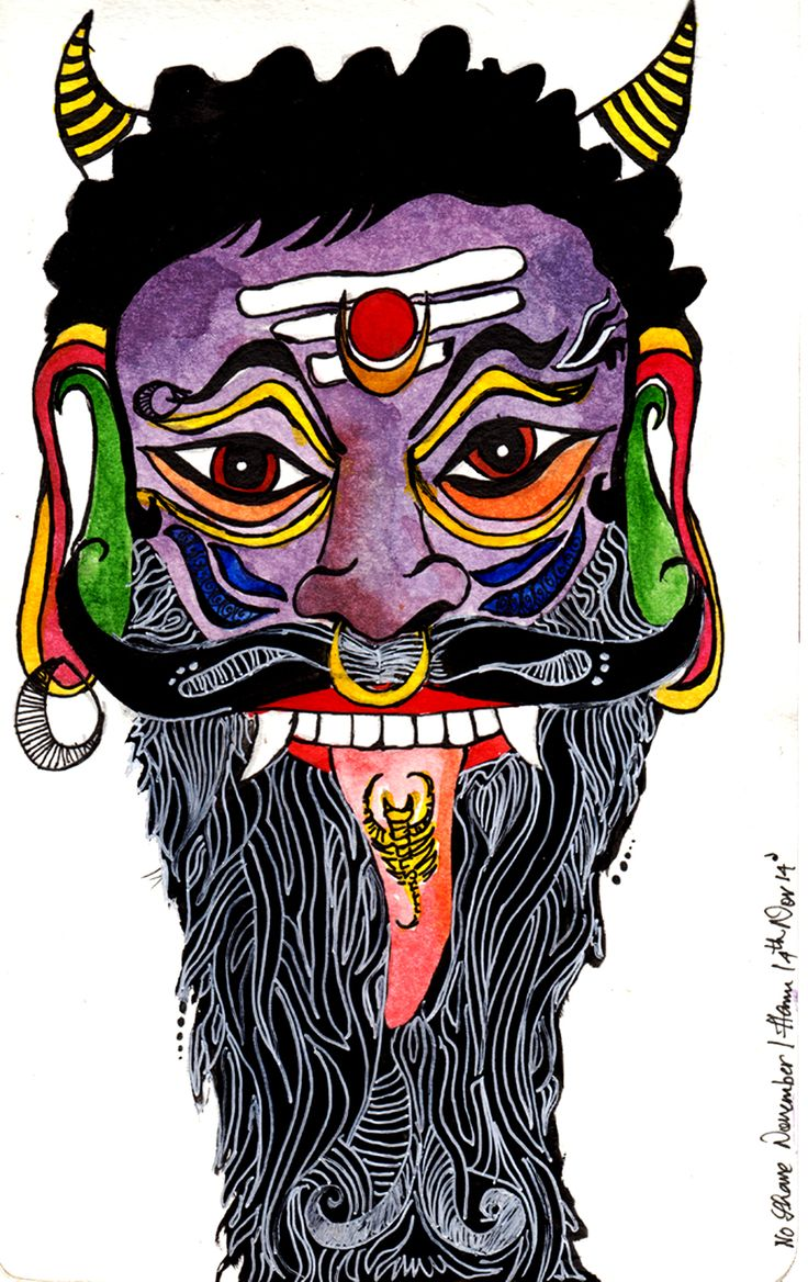 Keeping the Evil Eye Away-1  No Shave November | Inktober Day-24   Watercolours and Ink on Moleskine Watercolour sketchbook   I believe that art reaches people directly, in the spot of vulnerability. It happens to be our duty to spread awareness for social causes whenever possible. Thus, No Shave November it is. Do your part. :)
